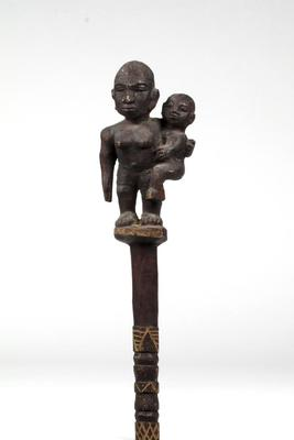 Staff with Carved Mother and Child Finial