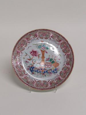 Famille-rose Plate with Auspicious Still-Life Design