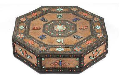 Octagonal Box with Buddhist Symbols and Mantra