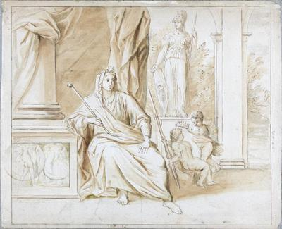 Seated Woman in a Classical Setting