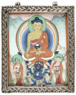 Shakyamuni Buddha with His Disciples and Mahakala