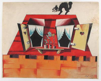 Surrealist House with Cat on Roof