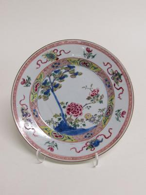 Famille-rose Plate with Peony, Tree and Eight Emblems