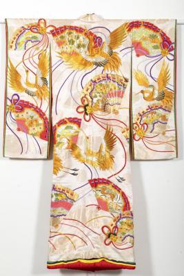 Wedding Kimono with Crane and Fan Design