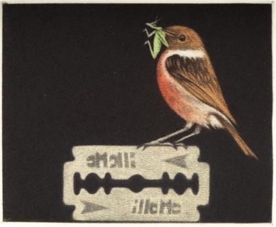 Bird with Cricket on a Razor Blade