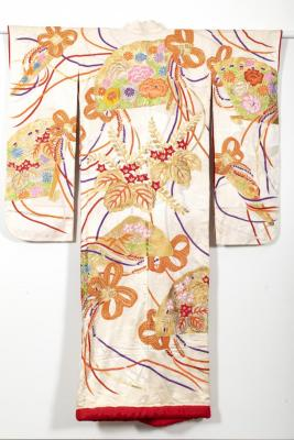 Red ground kimono with gold wave design, embroidered with fans, flocks of cranes, bamboo, cherry blossoms, and Chrysanthemums.