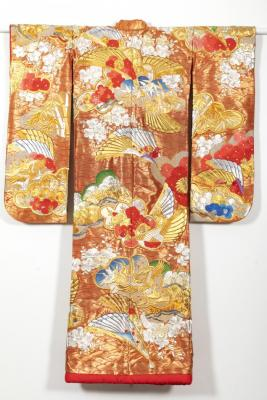 Wedding Kimono with Fans, Cranes, Bamboo, and Flowers