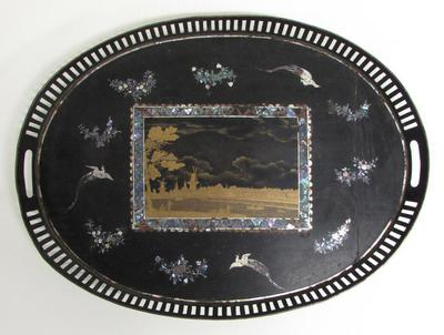 Oval Tray with Dutch Landscape Design