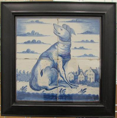 Four Delftware Tiles with Image of a Seated Dog