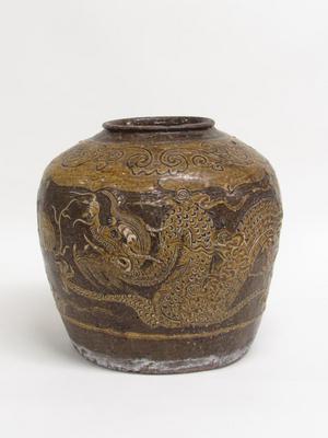 Martaban Jar with Dragon and Phoenix Design