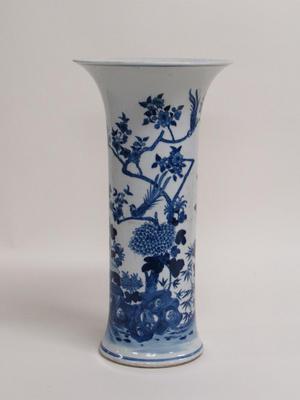 Beaker Vase with Image of Birds in a Garden