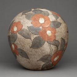 Globular Vase with Camellia Design