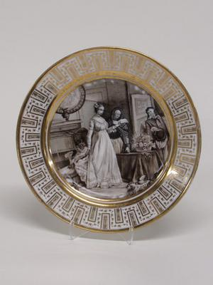 Dinner Plate with Figures in an Interior