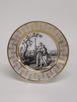 Dinner Plate with Classical Shepherd and Shepherdess in a Landscape