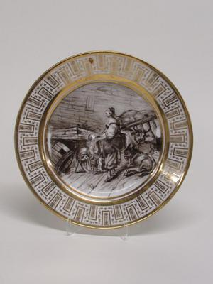 Dinner Plate with Mother and Child in a Barn