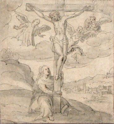 Crucifixion  with Virgin and Angels