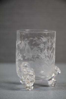 Cordial Glass with Dragonfly and Floral Designs