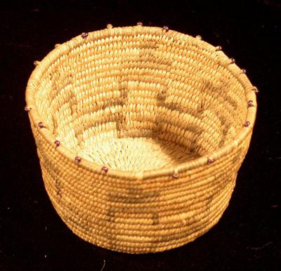 Cylindrical Basket with Beaded Rim