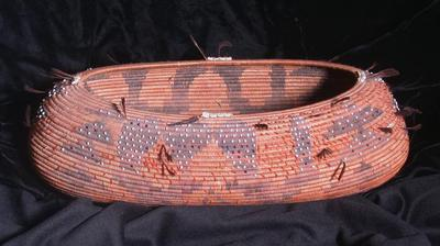 Boat Basket with Feathers and Beads