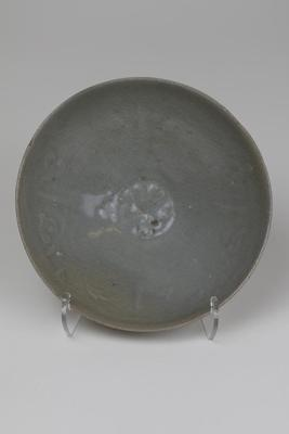 Celadon Bowl with Molded Floral Designs
