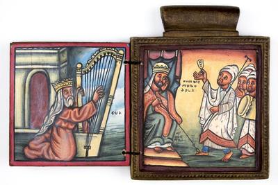 Pendant Icon with Saint Yared and King GebreMeskel and King David with His Harp