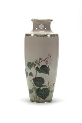 One of a Pair of Imperial Cloisonne Vases with Bougainvillea Design